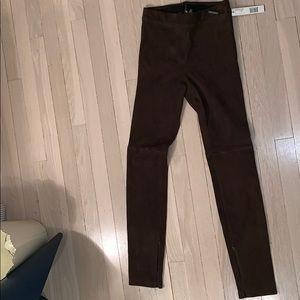 elie tahari brown swede pant from bergdorf goodman